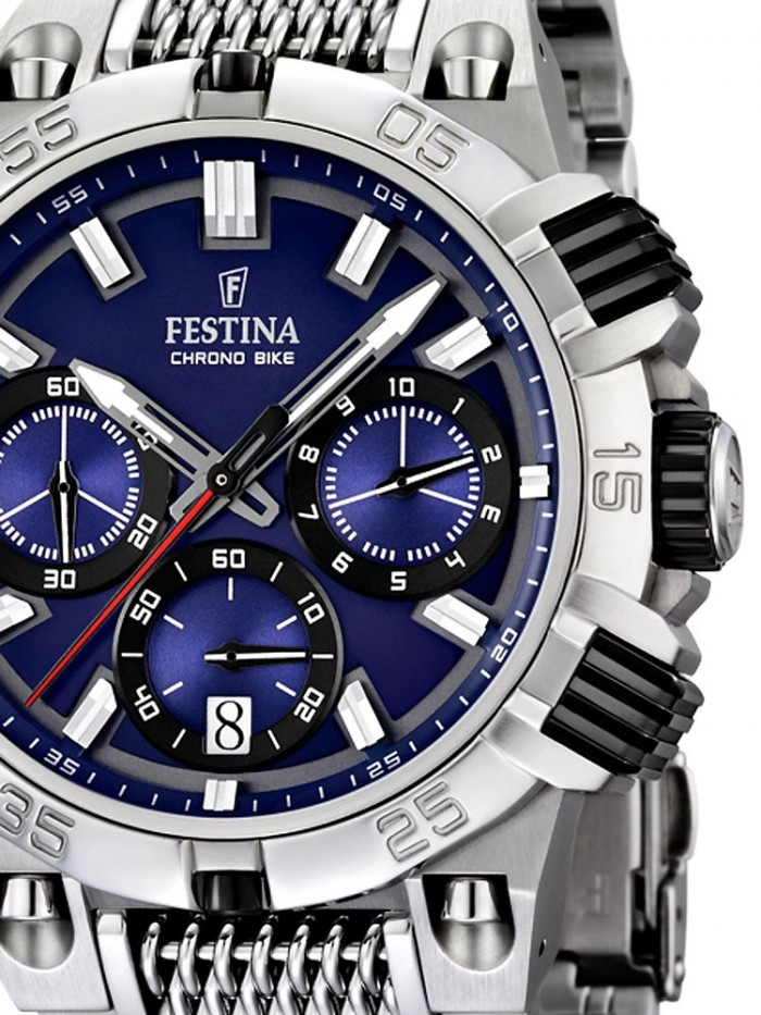 festina f16774 2 montre acier argent bleu festina homme quartz rond. Black Bedroom Furniture Sets. Home Design Ideas